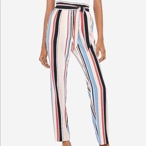 High Waisted Striped Sash Tie Pull-On Ankle Pant